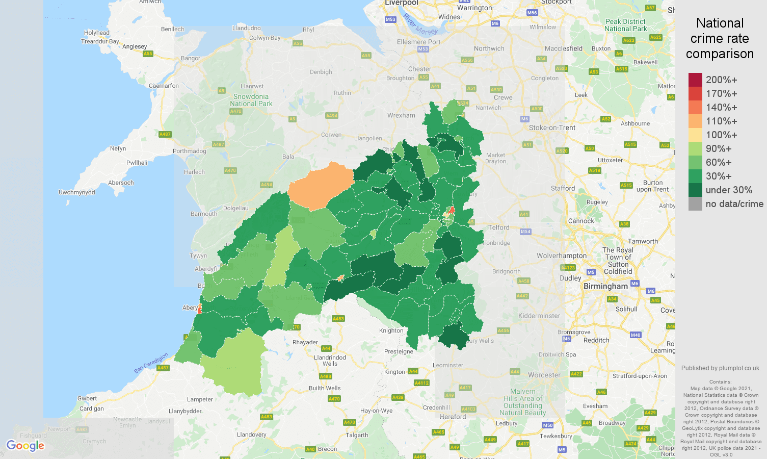 Shrewsbury antisocial behaviour crime rate comparison map