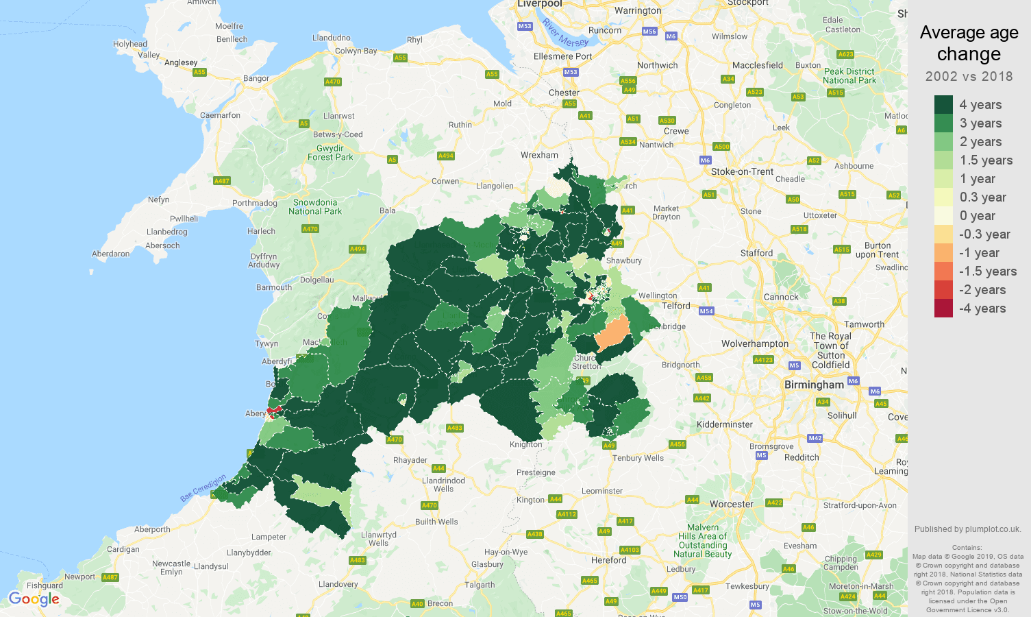 Shrewsbury average age change map