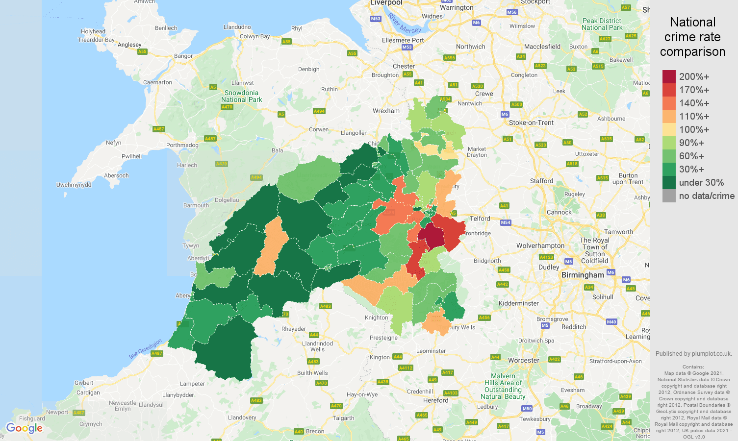 Shrewsbury burglary crime rate comparison map