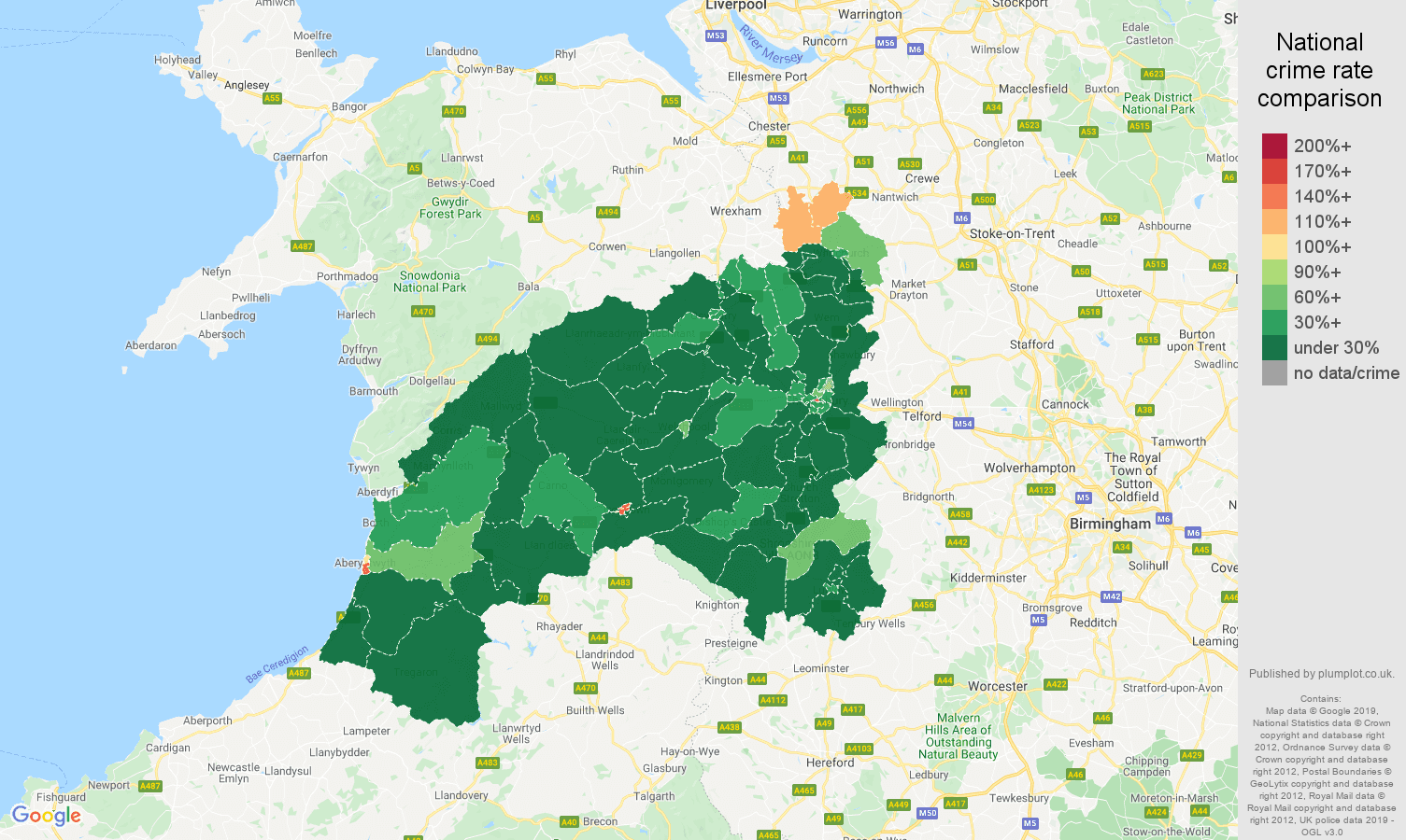 Shrewsbury public order crime rate comparison map