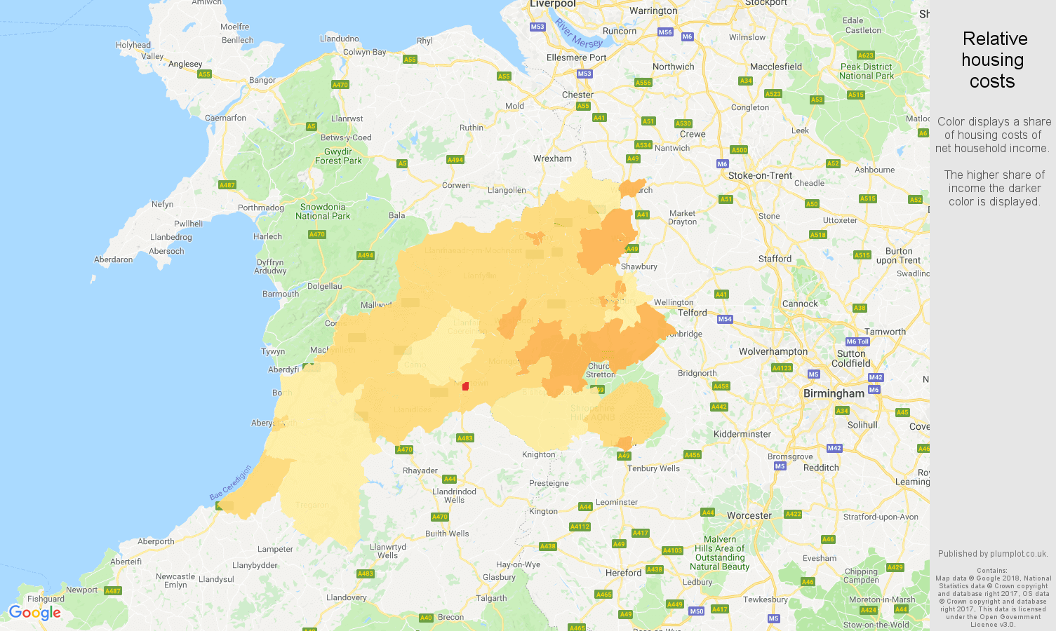 Shrewsbury relative housing costs map