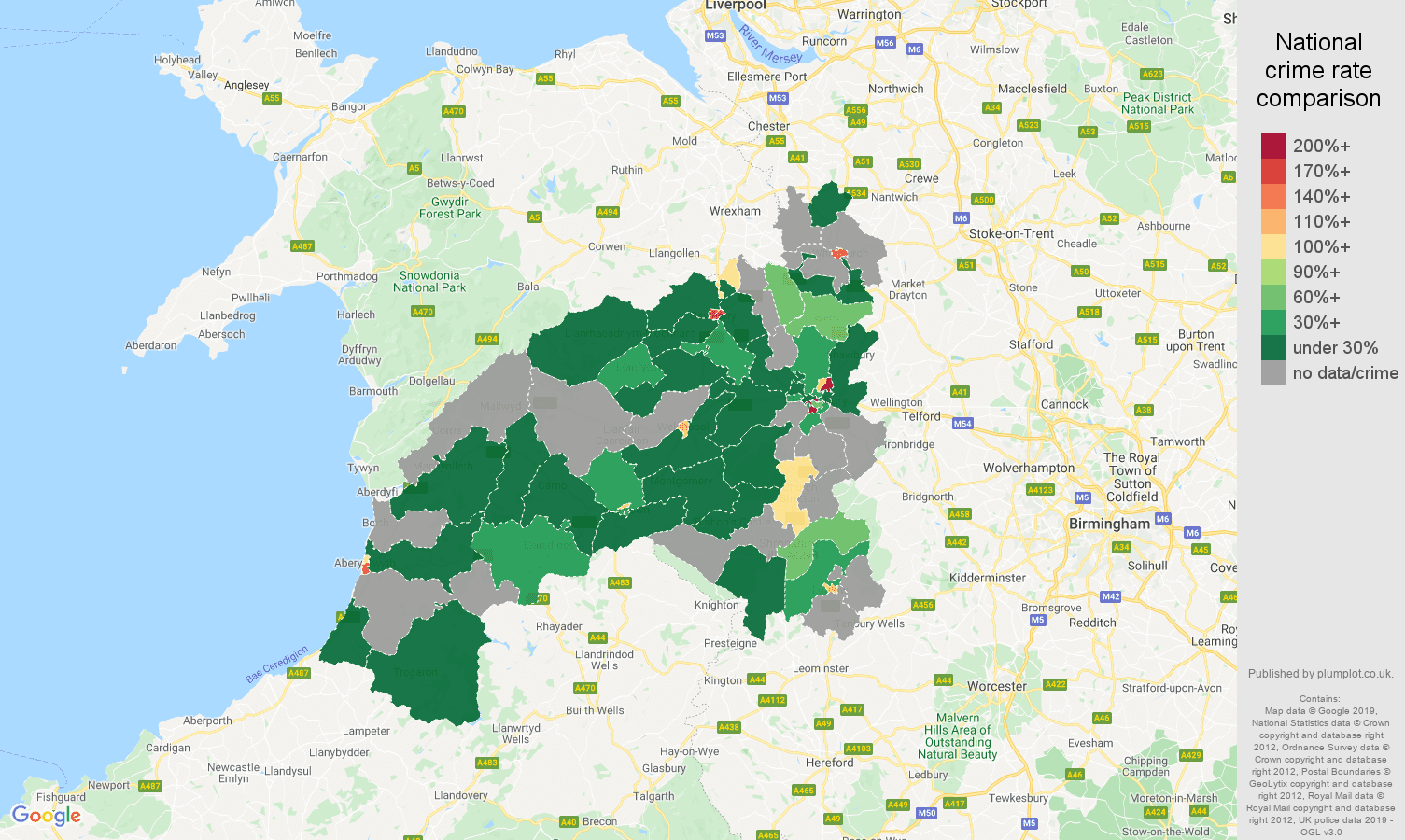 Shrewsbury shoplifting crime rate comparison map