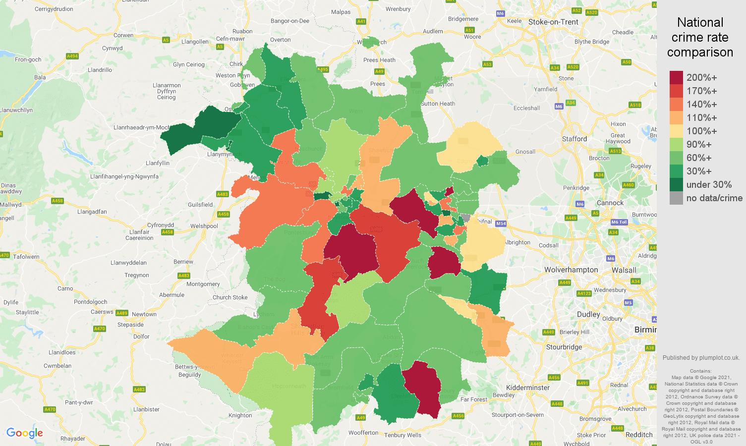 Shropshire burglary crime rate comparison map