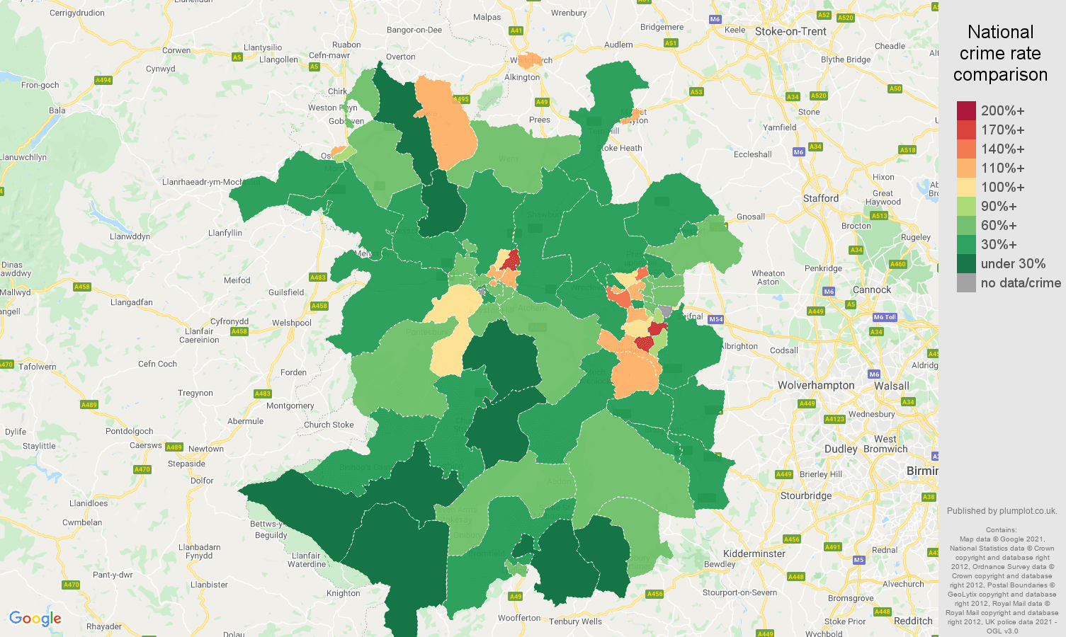 Shropshire criminal damage and arson crime rate comparison map