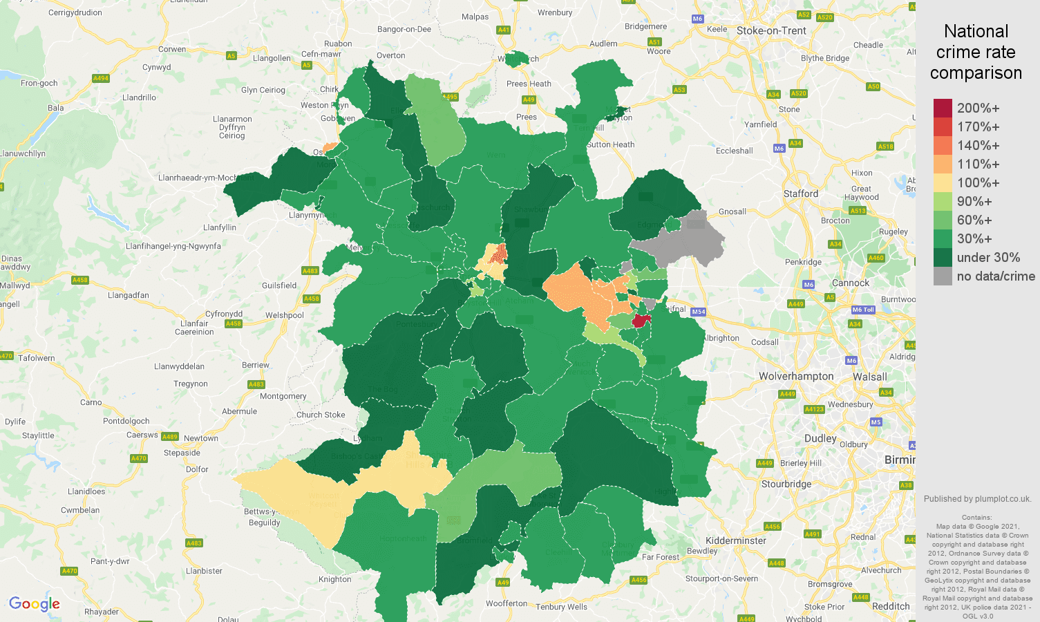Shropshire drugs crime rate comparison map