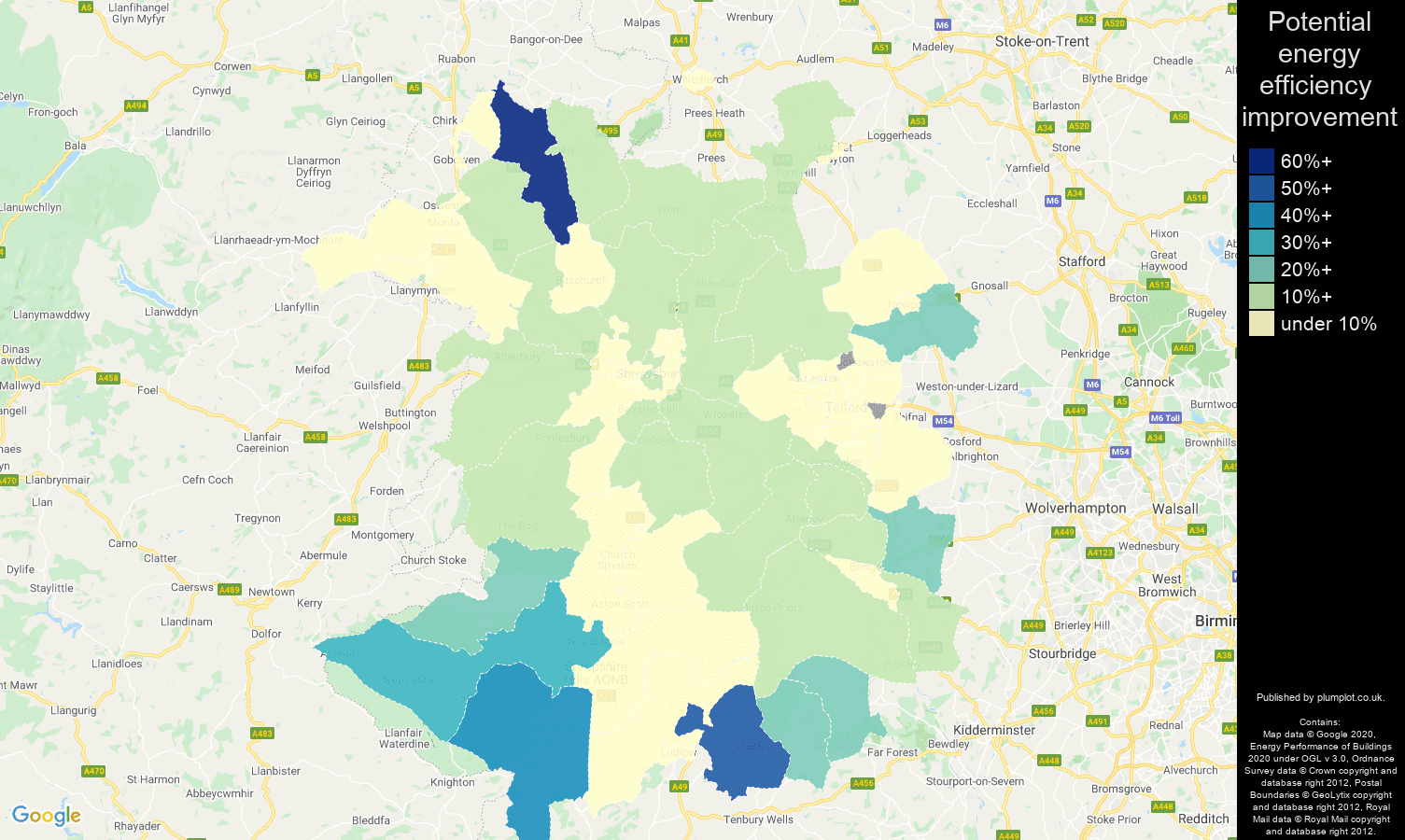 Shropshire map of potential energy efficiency improvement of flats