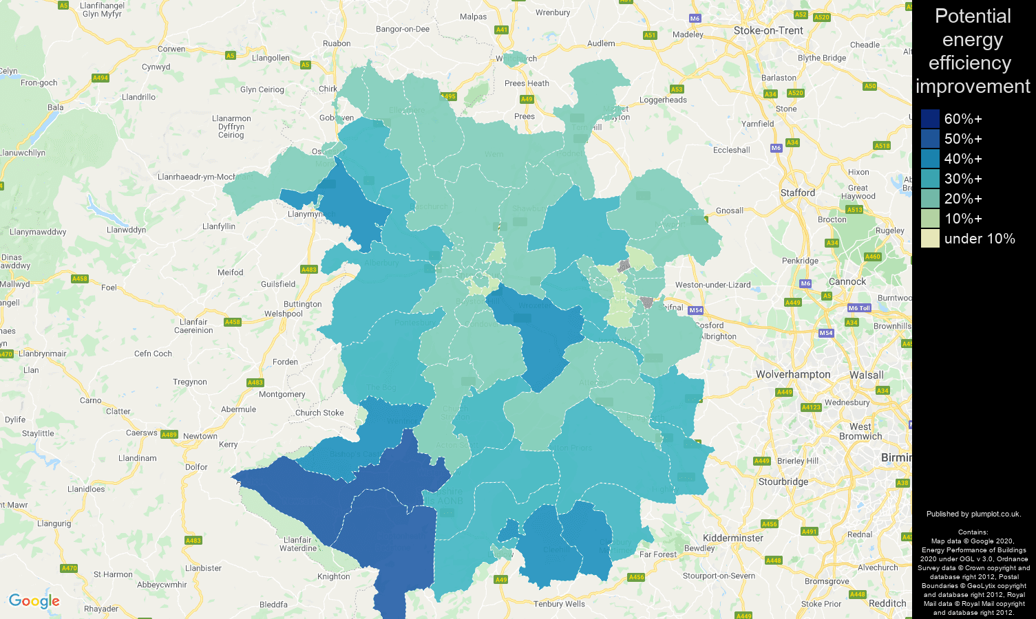 Shropshire map of potential energy efficiency improvement of houses
