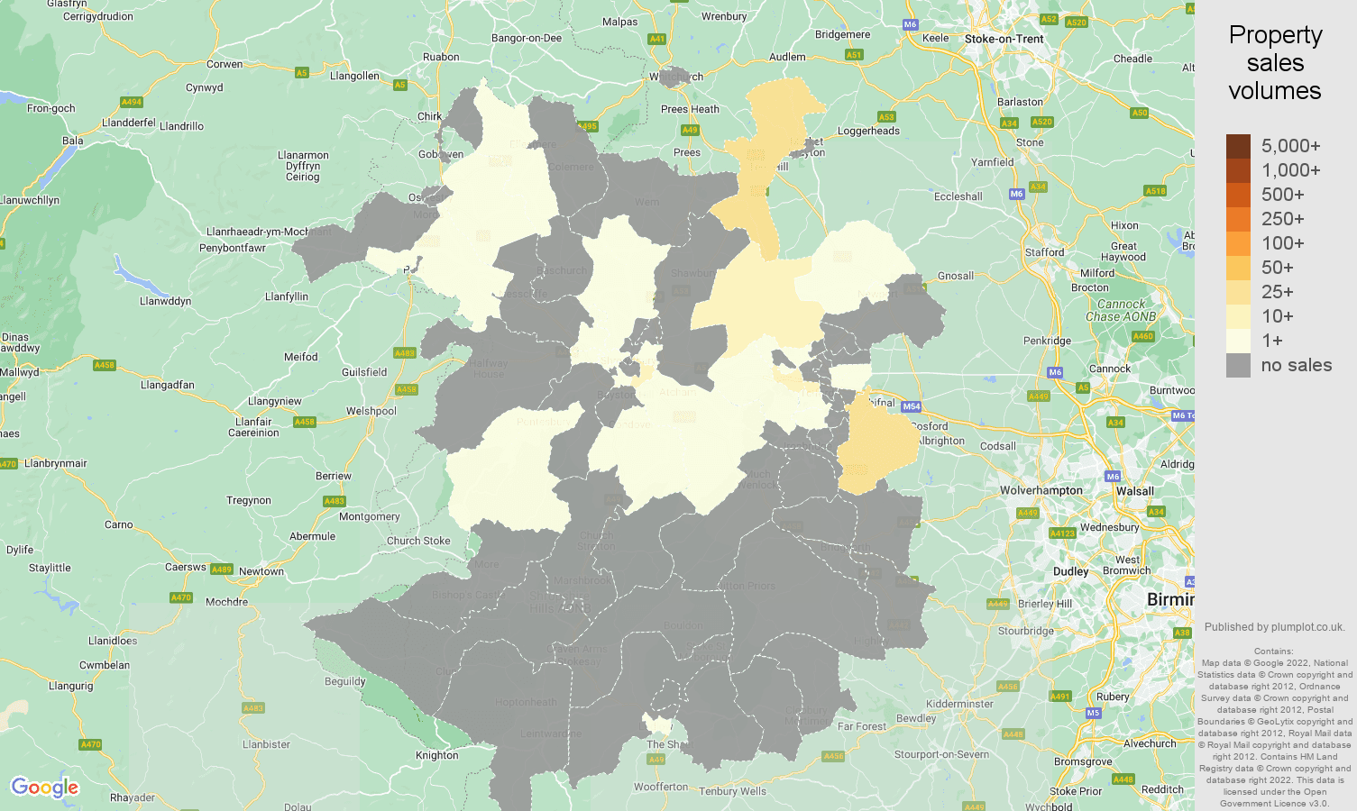 Shropshire map of sales of new properties