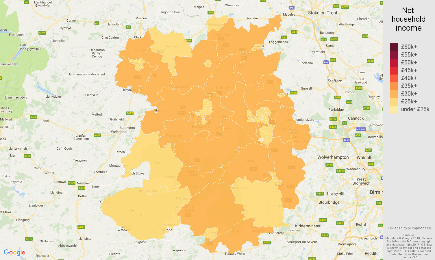 Shropshire net household income map