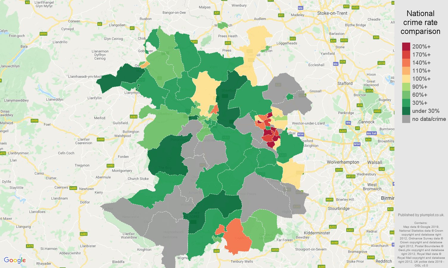 Shropshire possession of weapons crime rate comparison map