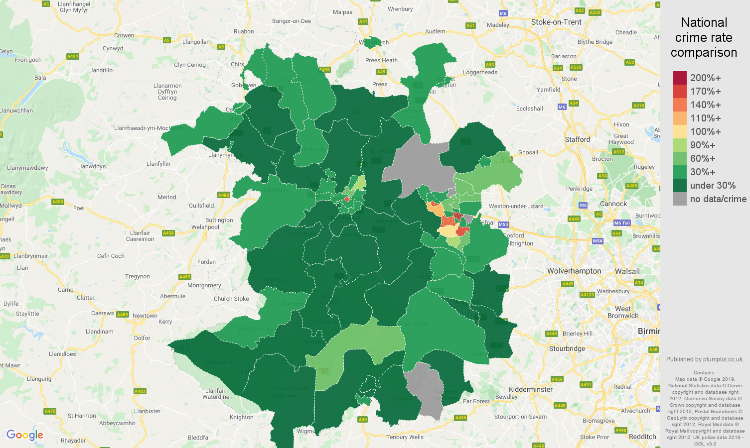 Shropshire public order crime rate comparison map