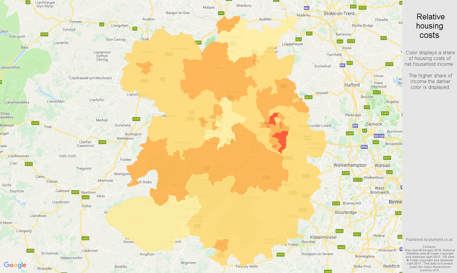 Shropshire relative housing costs map