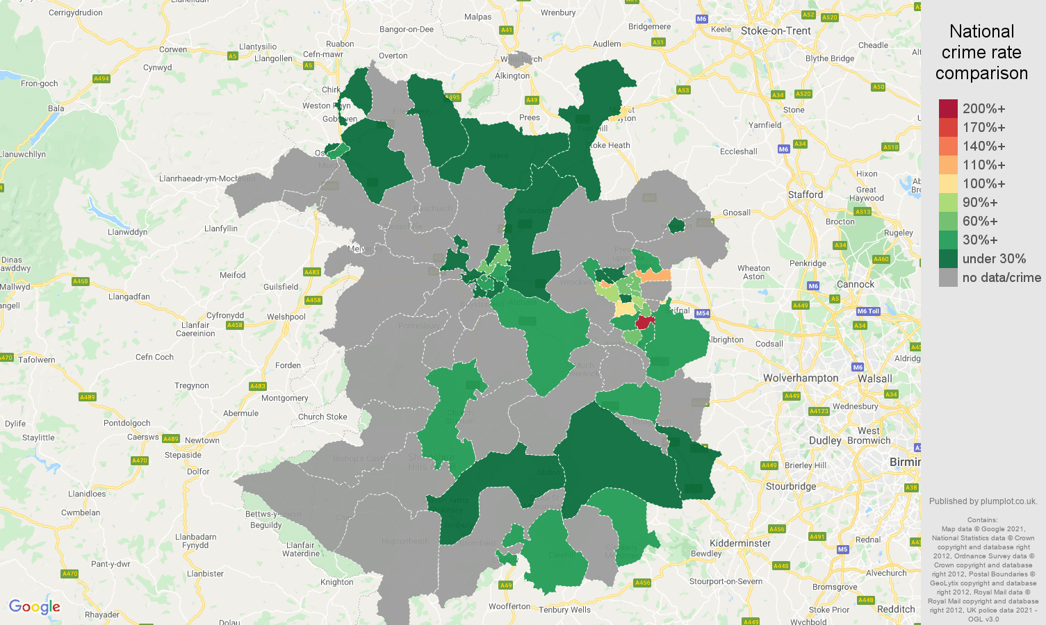 Shropshire robbery crime rate comparison map