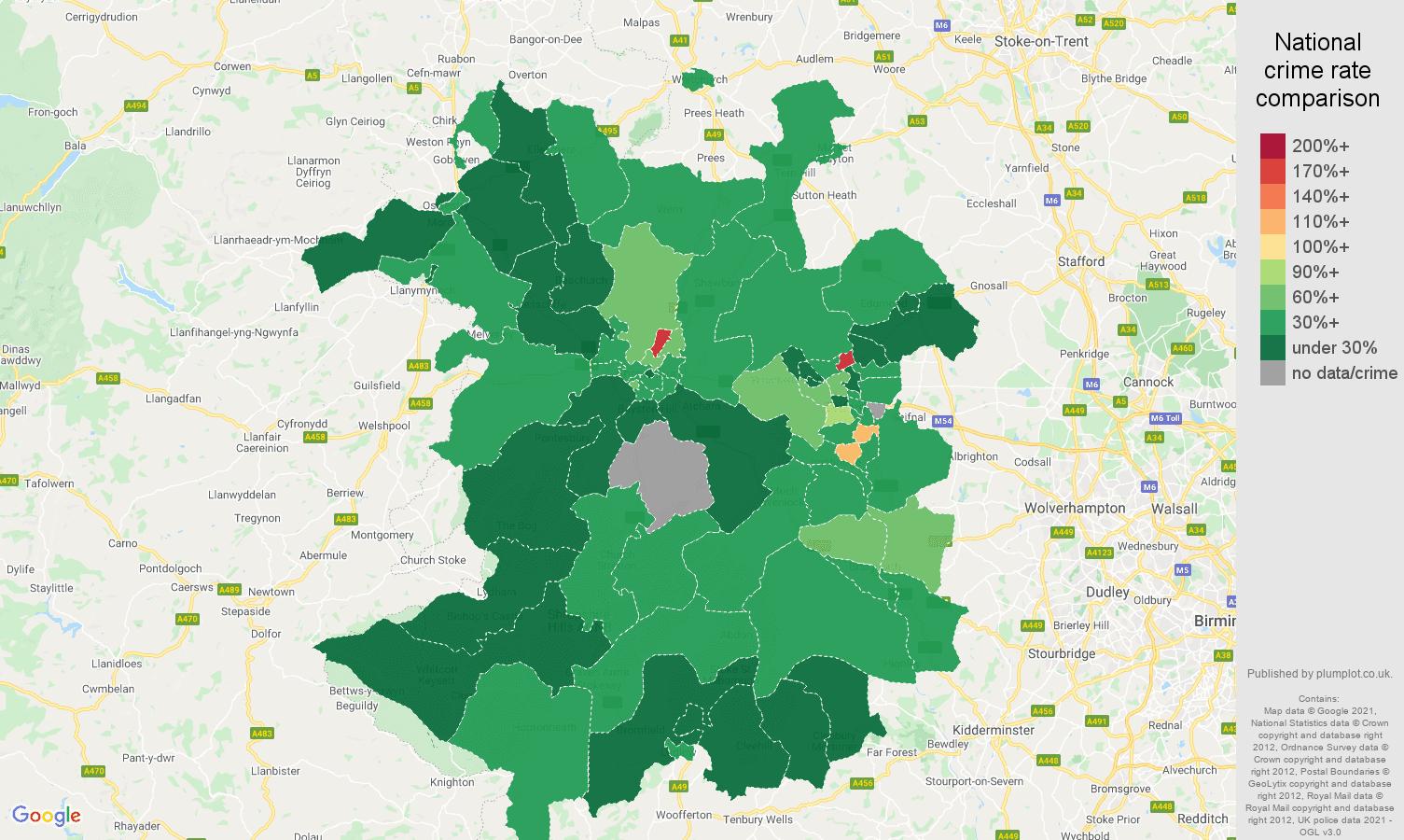 Shropshire vehicle crime rate comparison map