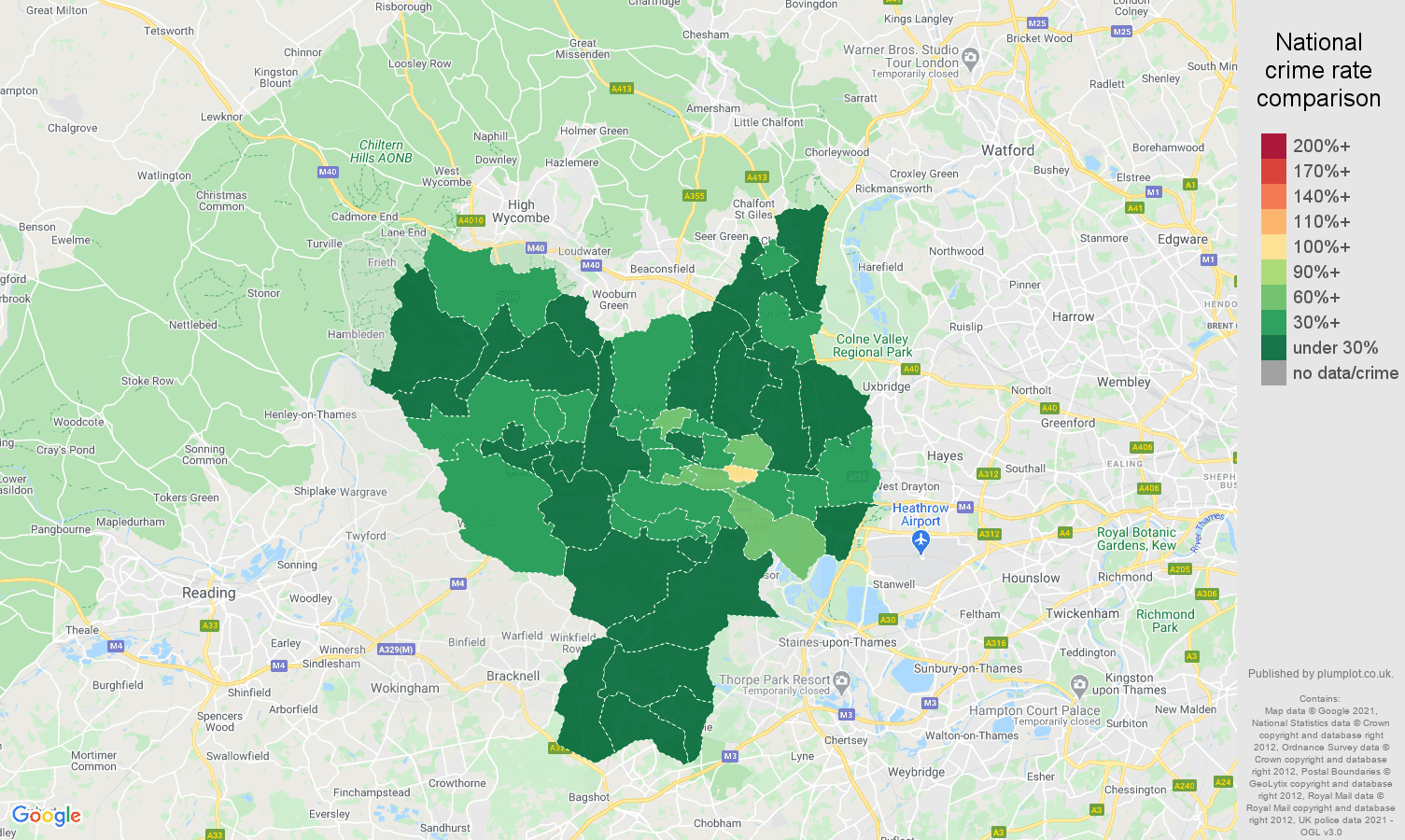 Slough antisocial behaviour crime rate comparison map