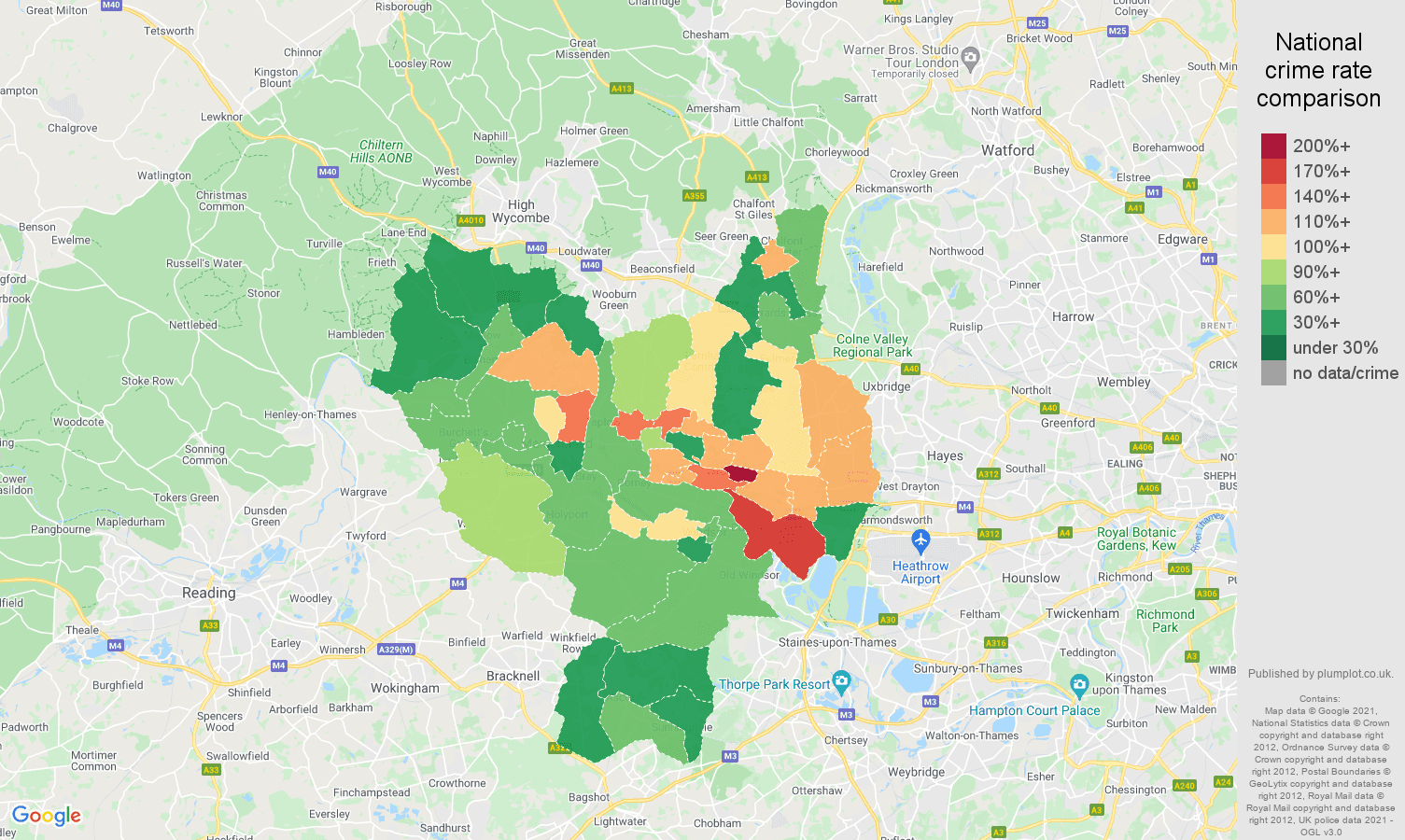 Slough criminal damage and arson crime rate comparison map