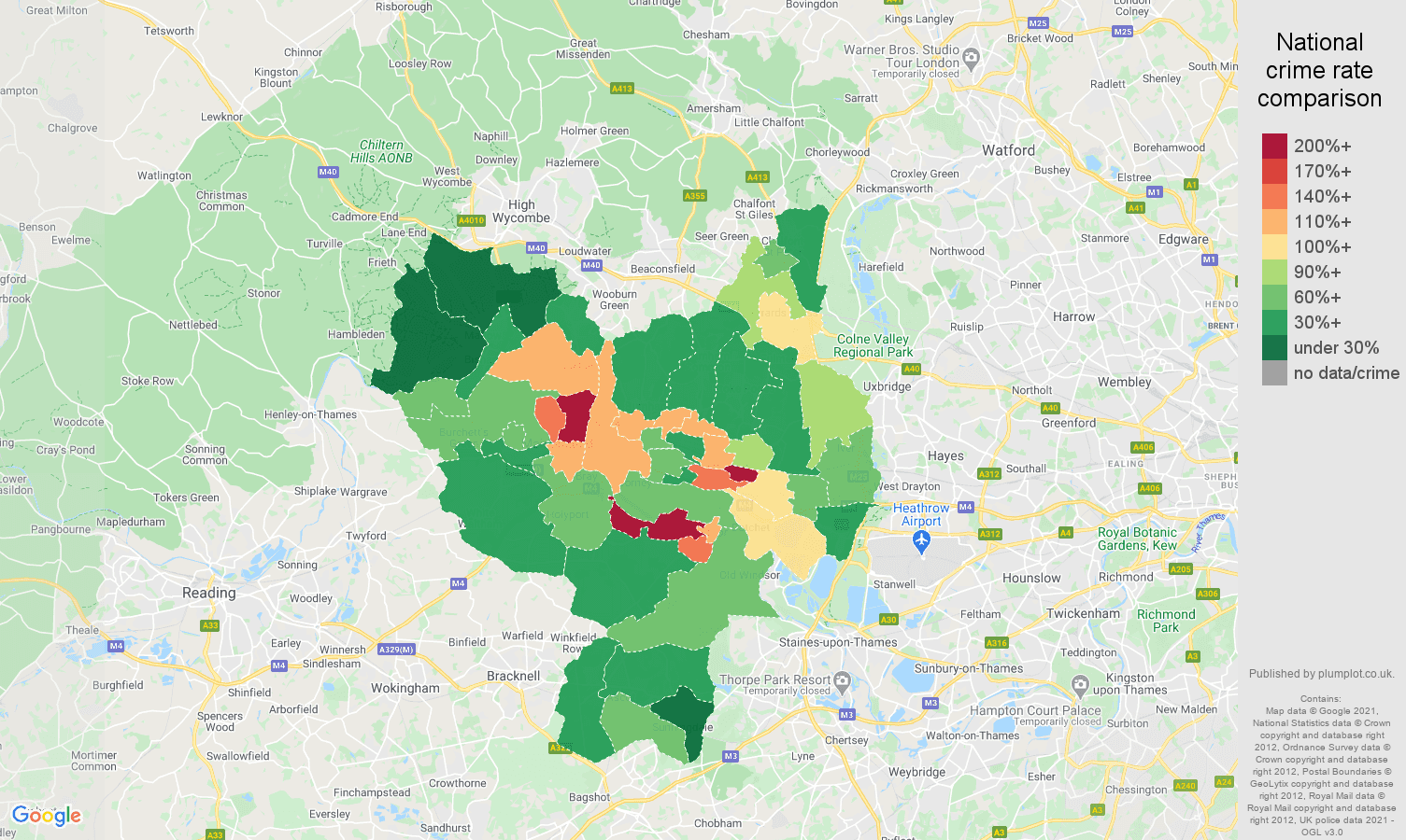 Slough drugs crime rate comparison map