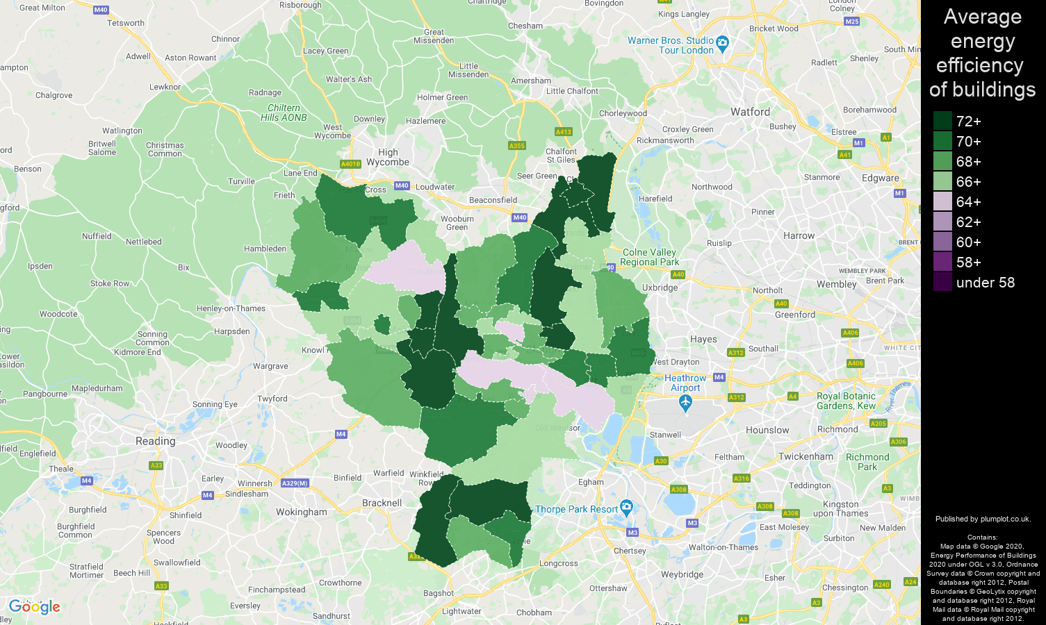 Slough map of energy efficiency of flats