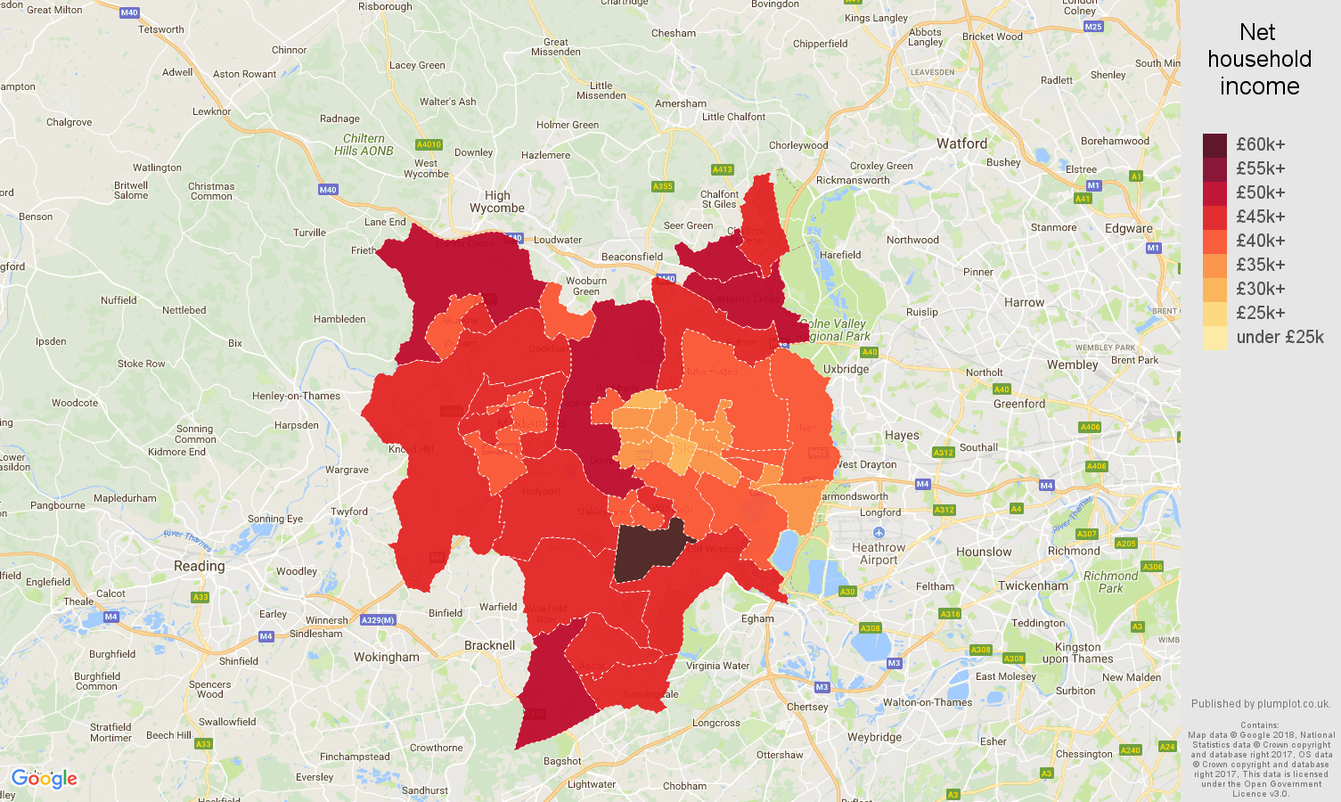 Slough net household income map