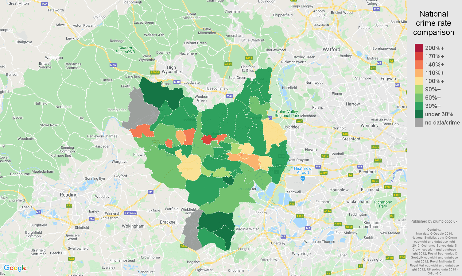 Slough other crime rate comparison map