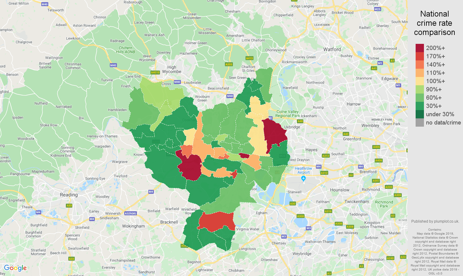 Slough other theft crime rate comparison map