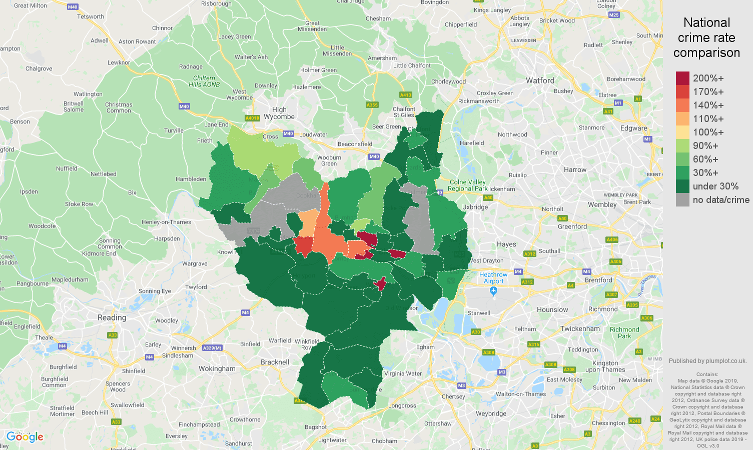 Slough shoplifting crime rate comparison map