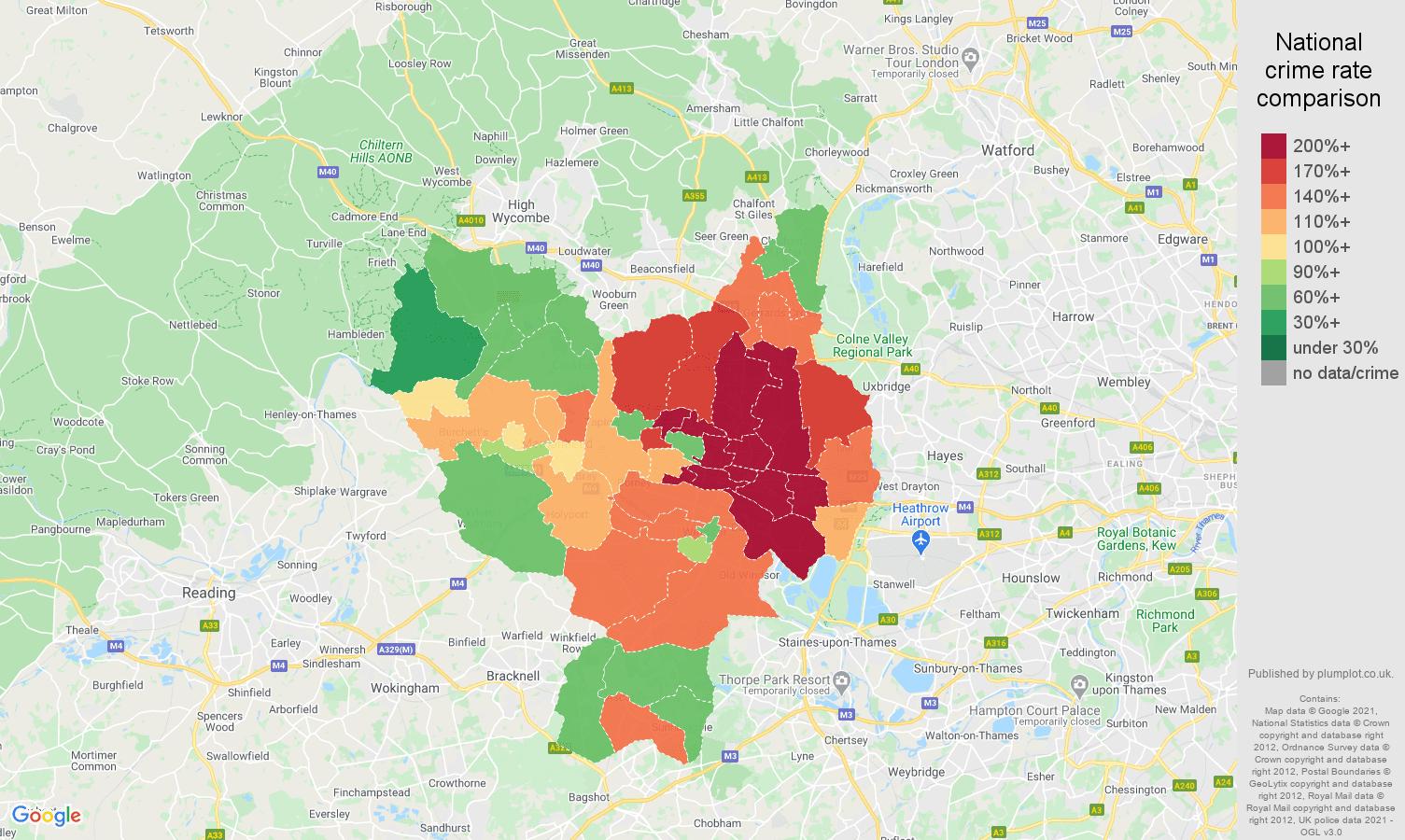 Slough vehicle crime rate comparison map