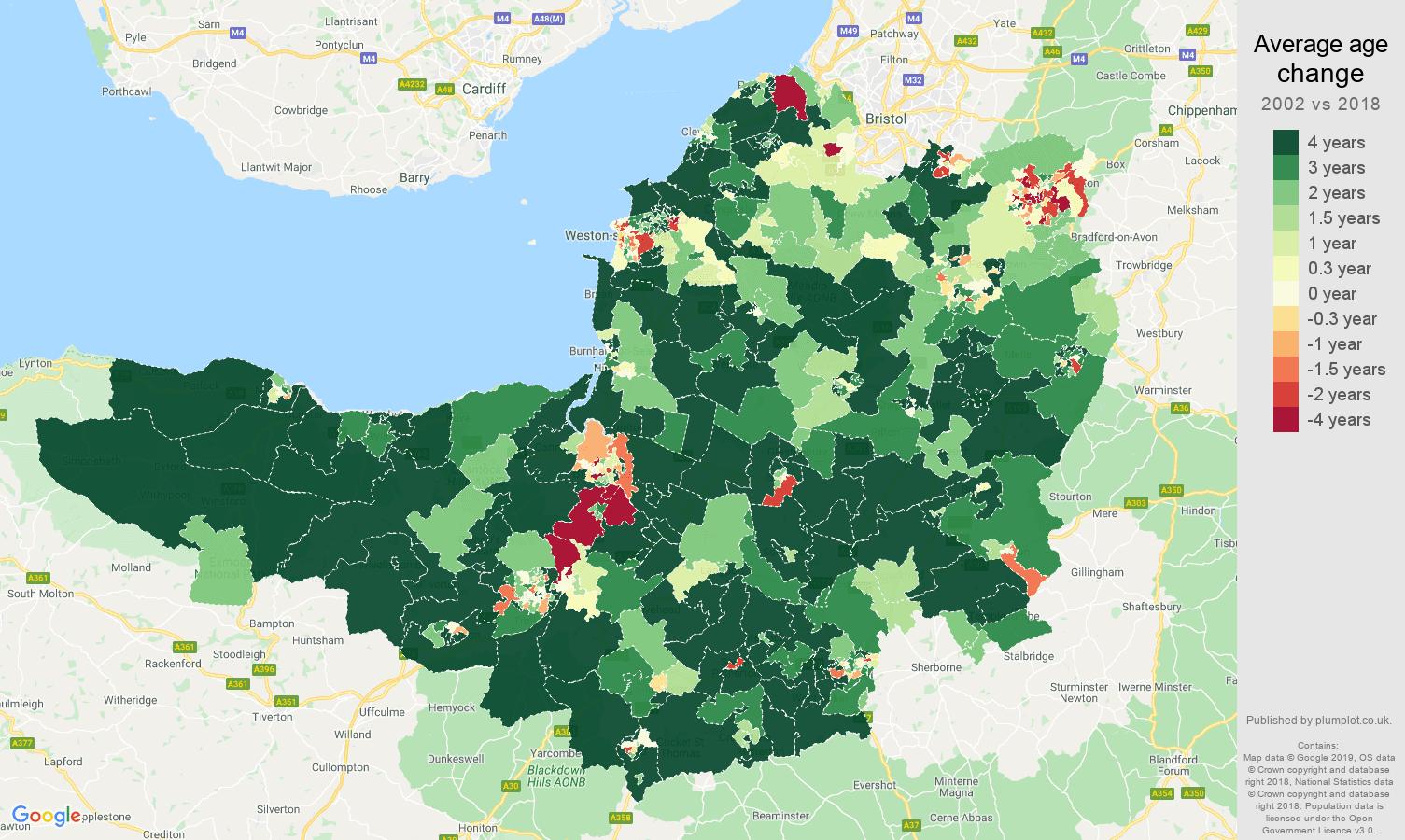Somerset average age change map