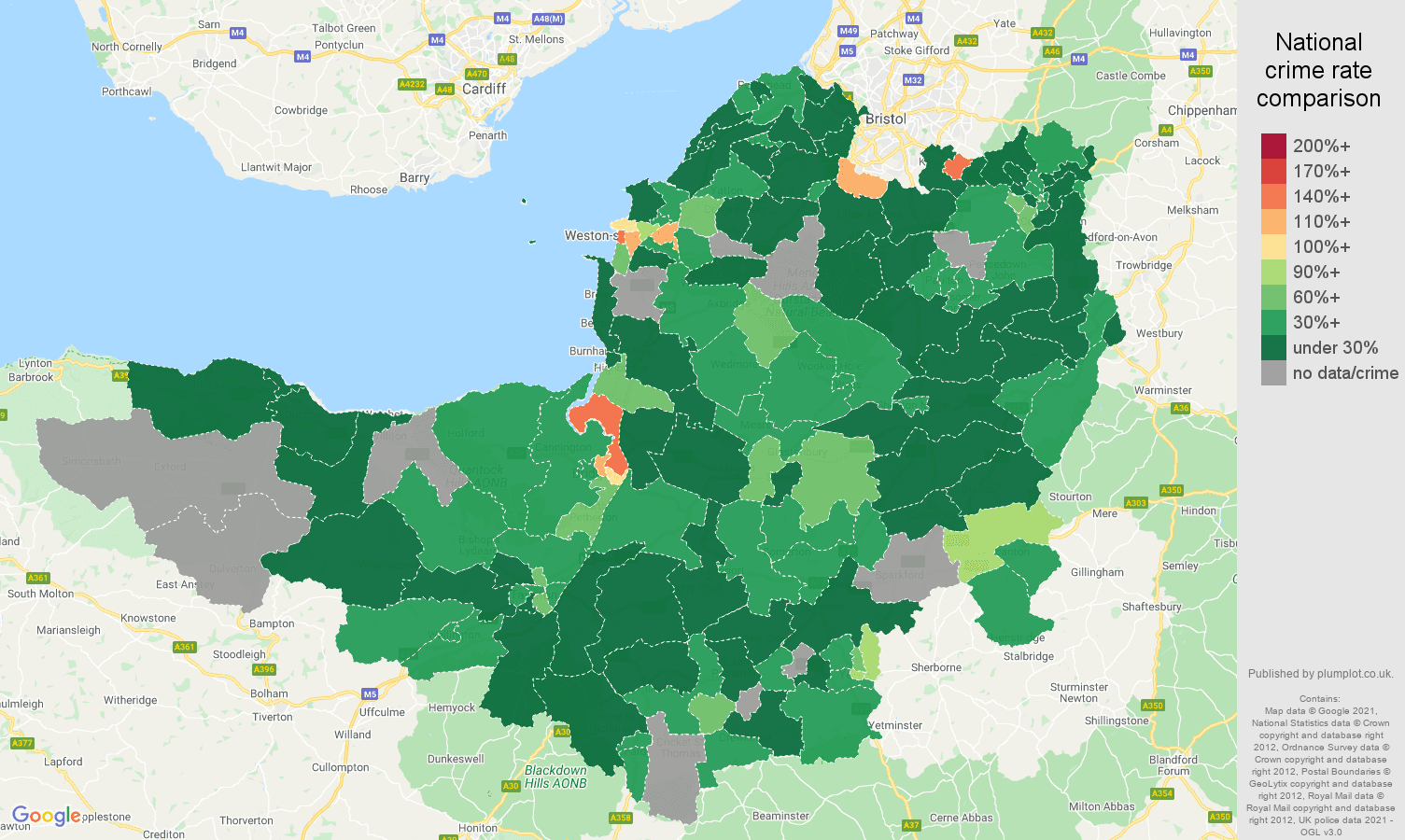 Somerset drugs crime rate comparison map