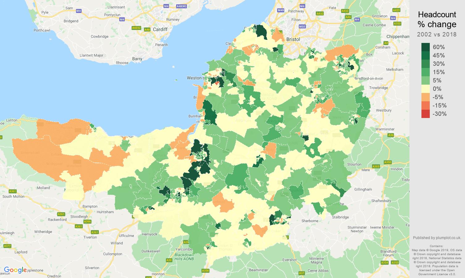 Somerset headcount change map