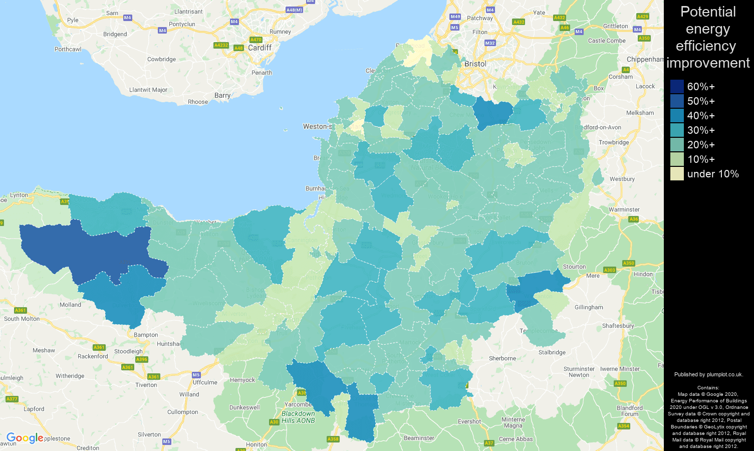 Somerset map of potential energy efficiency improvement of properties