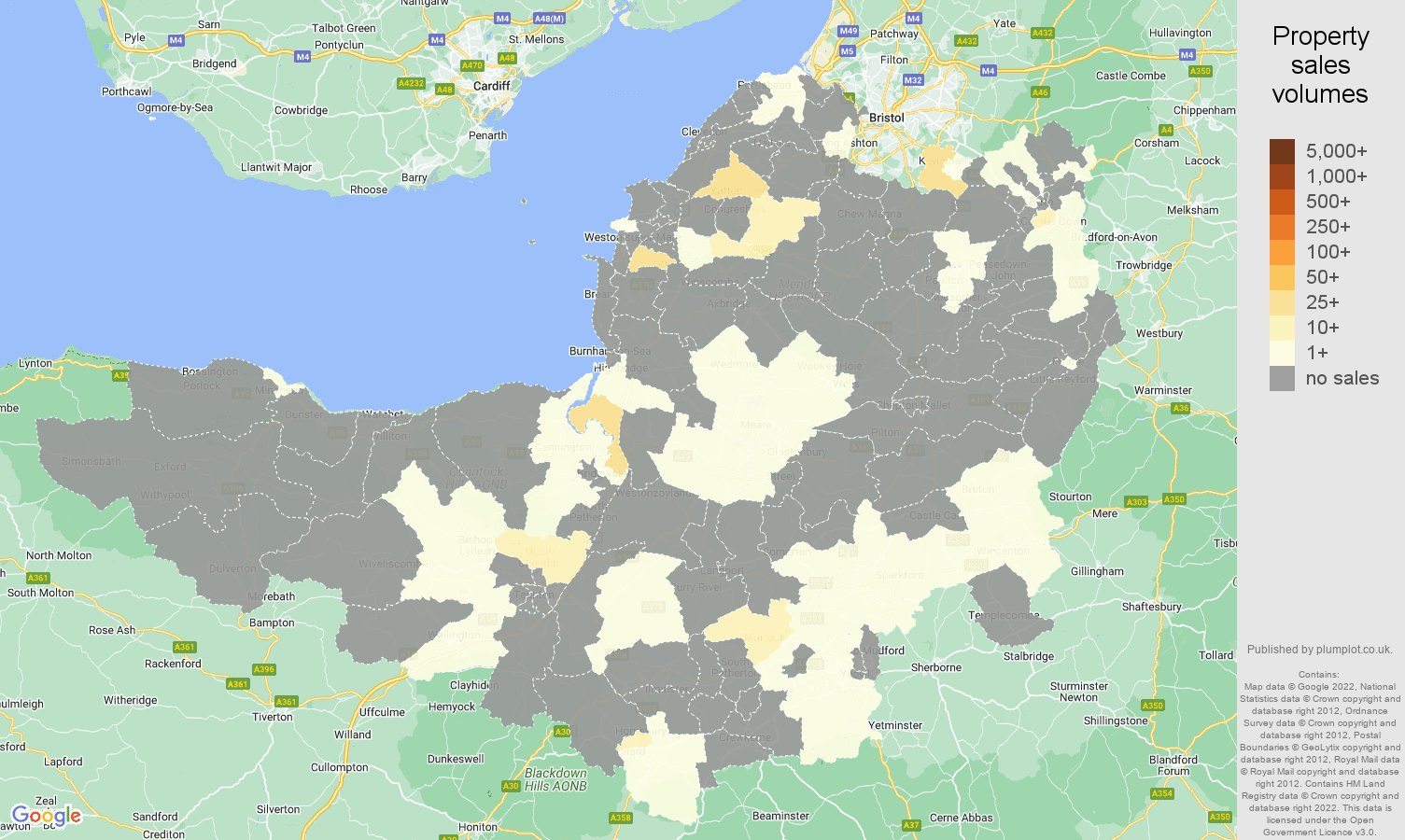 Somerset map of sales of new properties