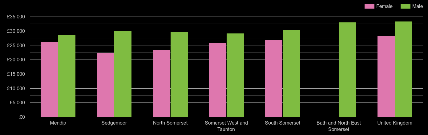 Somerset median salary comparison by sex