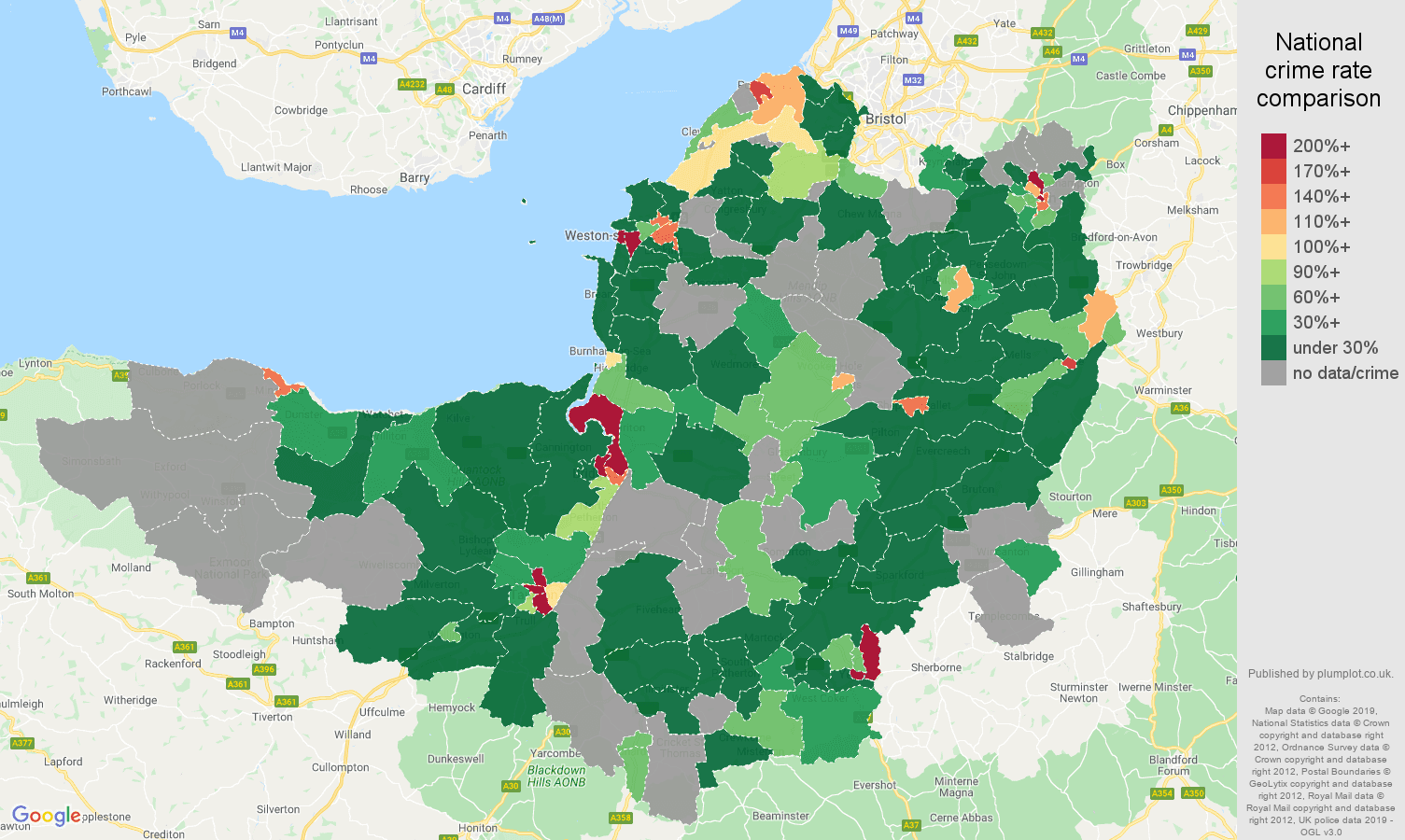 Somerset shoplifting crime rate comparison map