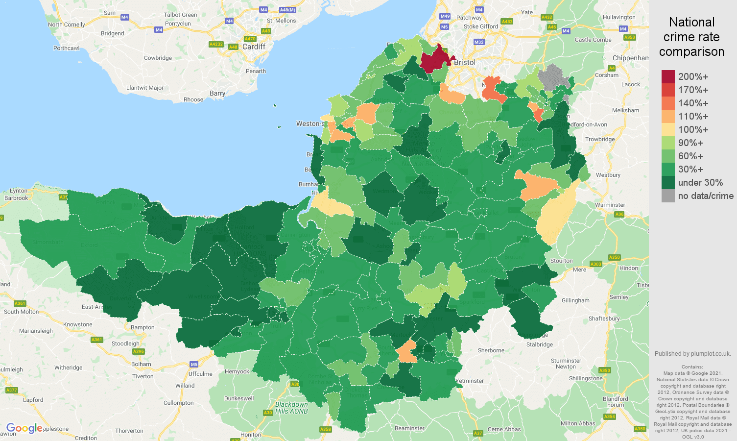Somerset vehicle crime rate comparison map