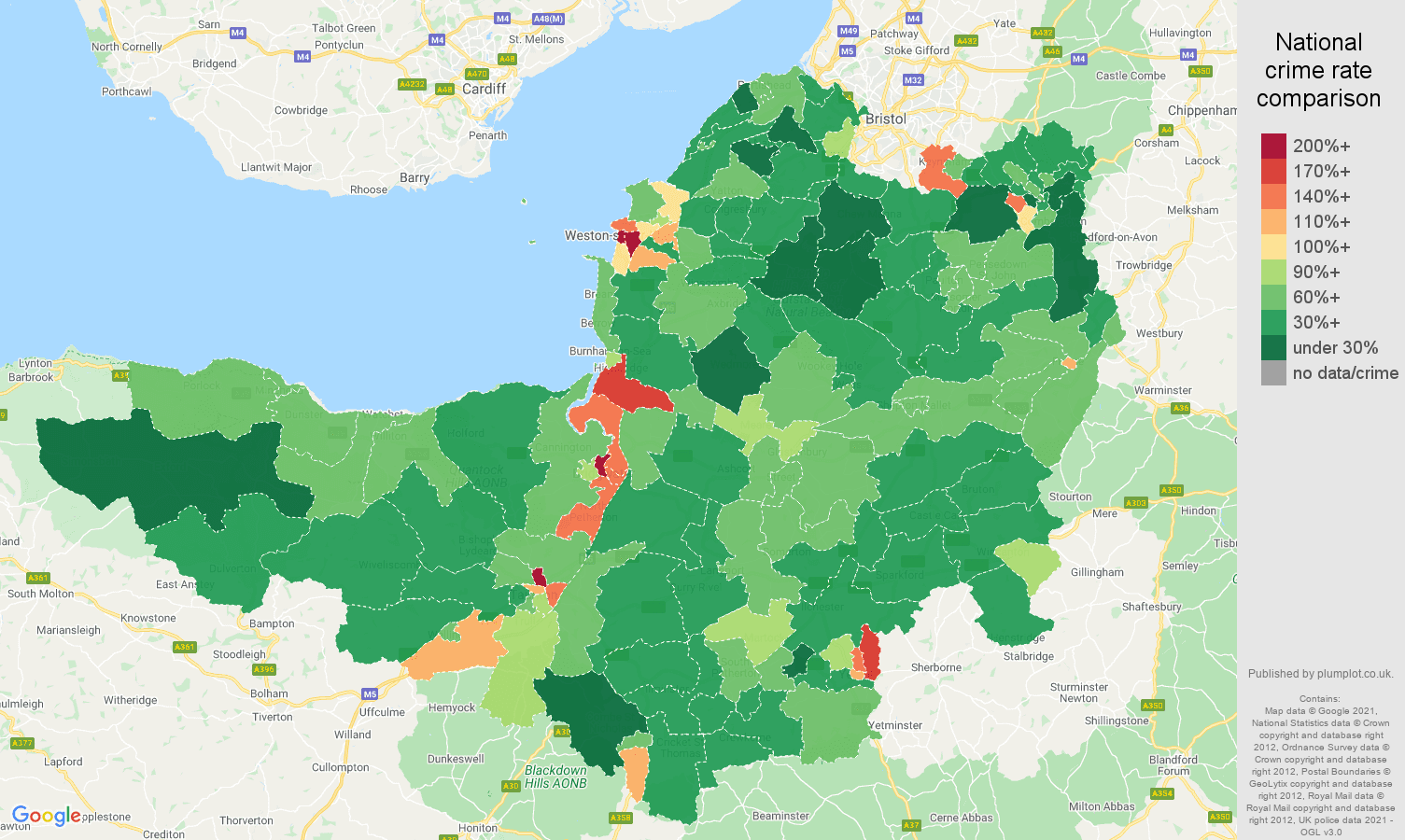 Somerset violent crime rate comparison map