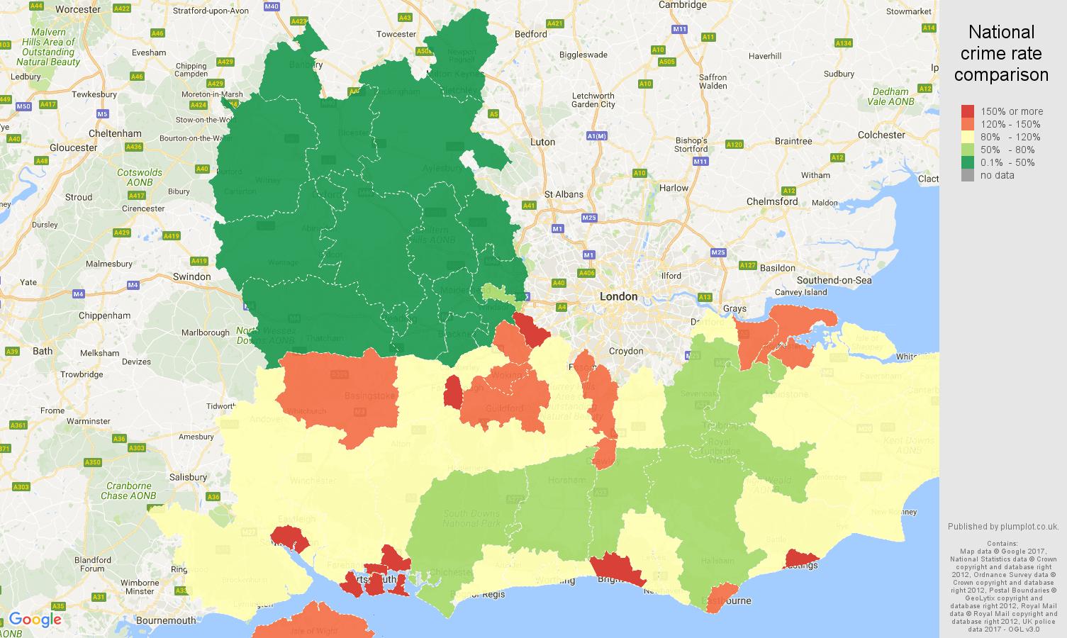 south east england public order crime rate comparison map