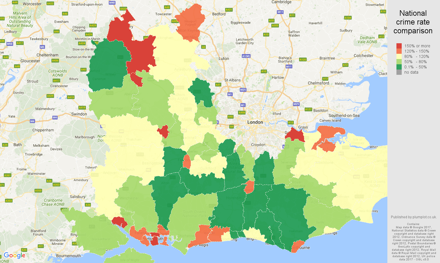 Map Of The South England.South East England Shoplifting Crime Statistics In Maps And Graphs