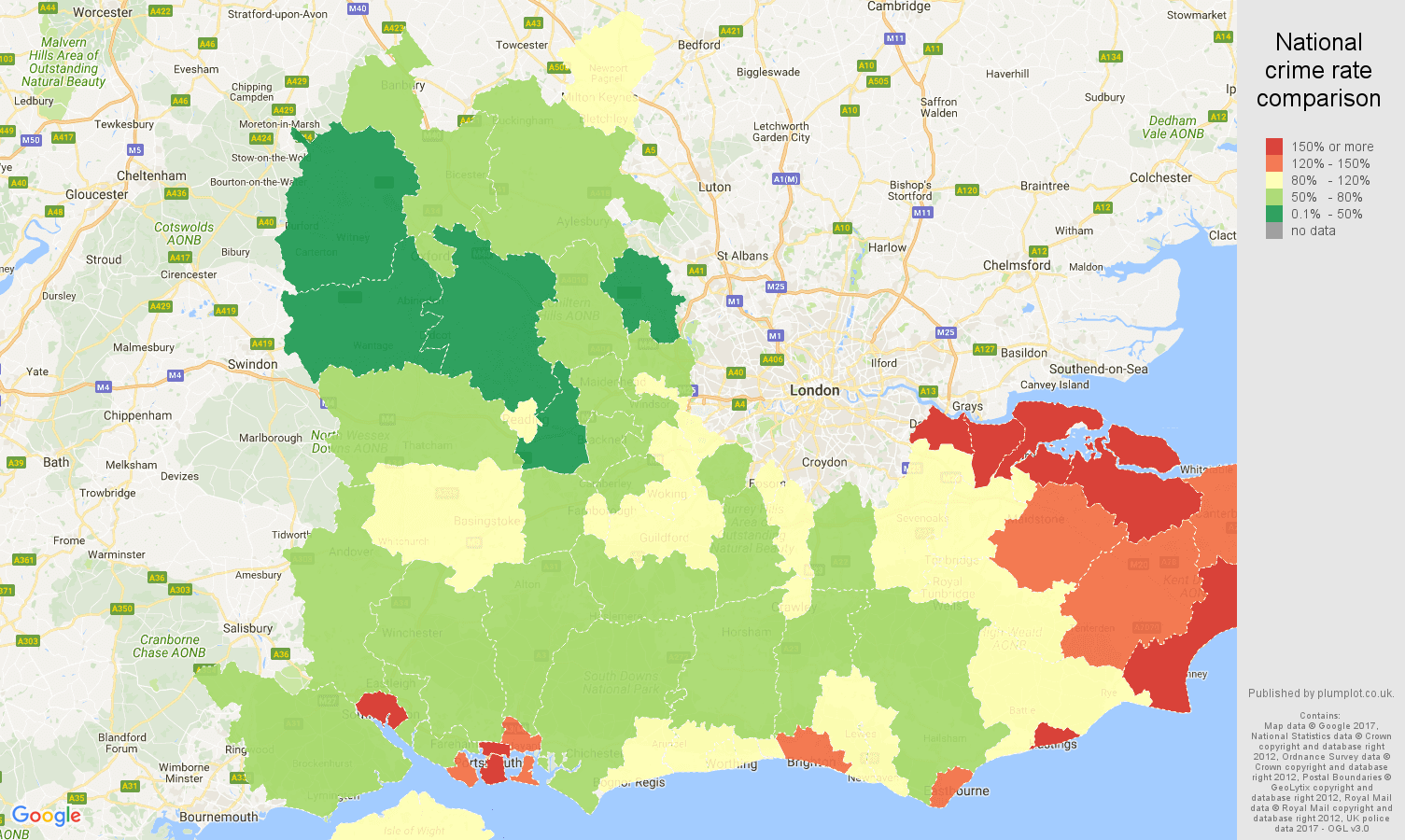 South Of England Map Uk.South East England Violent Crime Statistics In Maps And Graphs