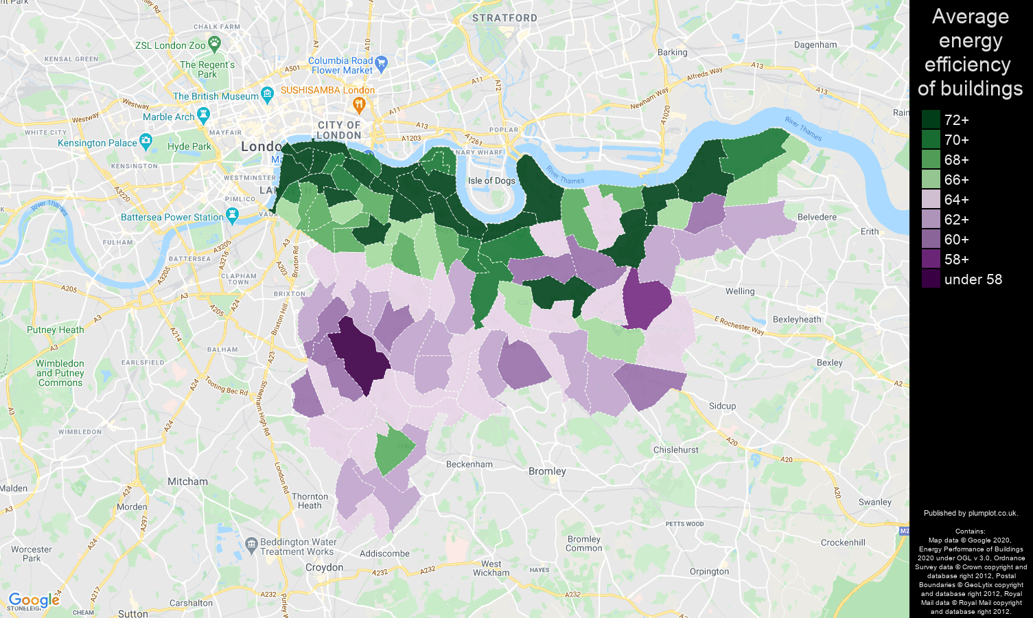 South East London map of energy efficiency of properties
