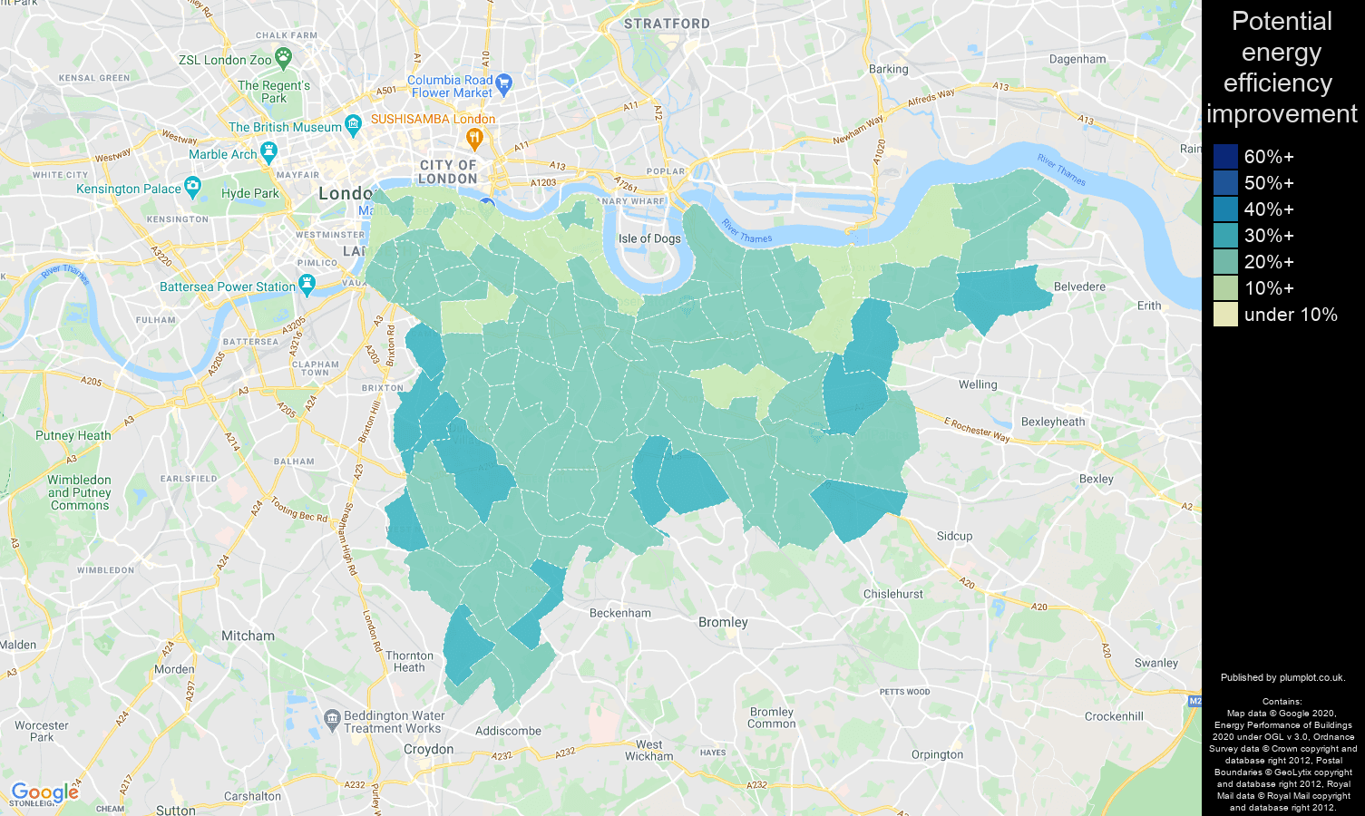 South East London map of potential energy efficiency improvement of houses