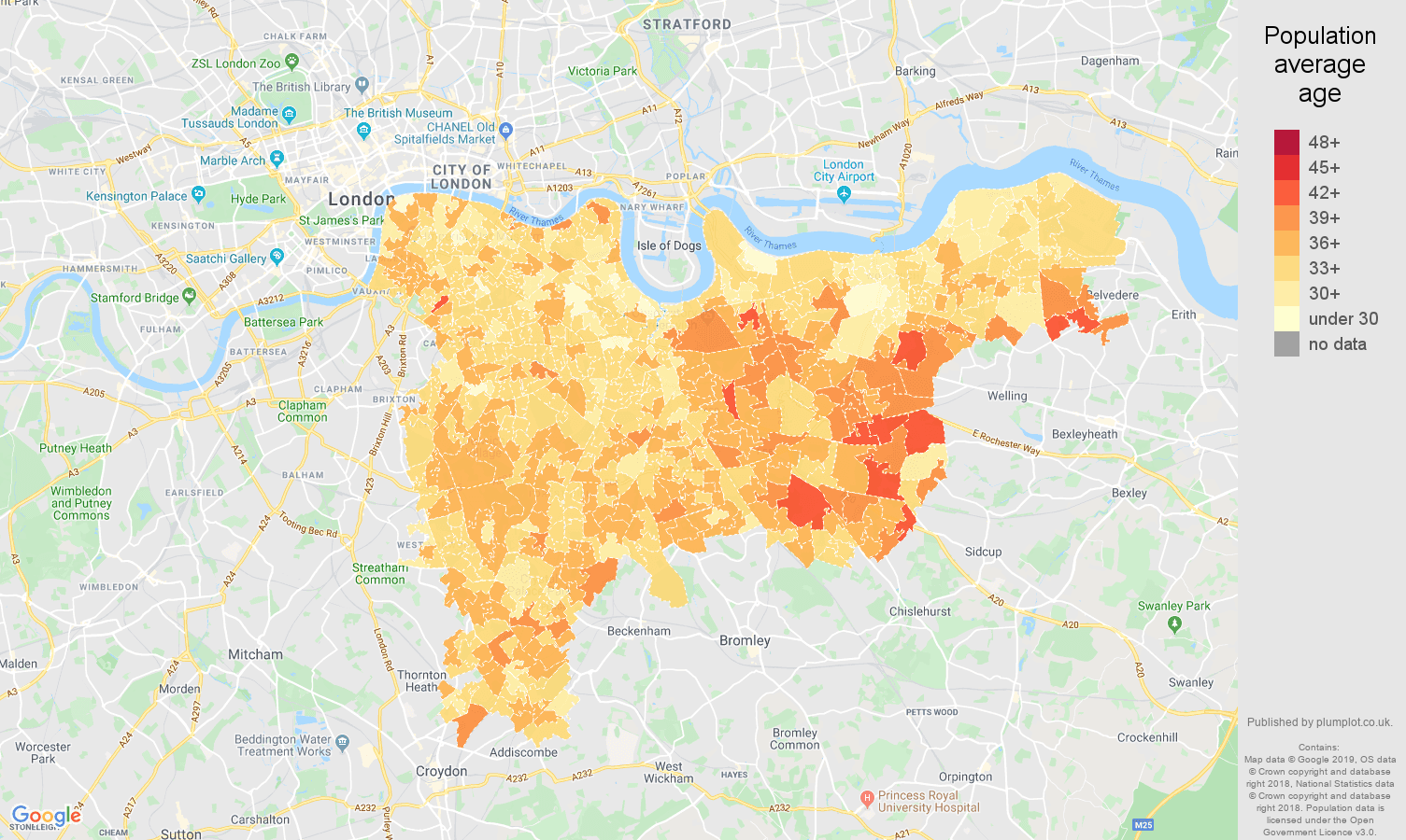 south east london population average age map