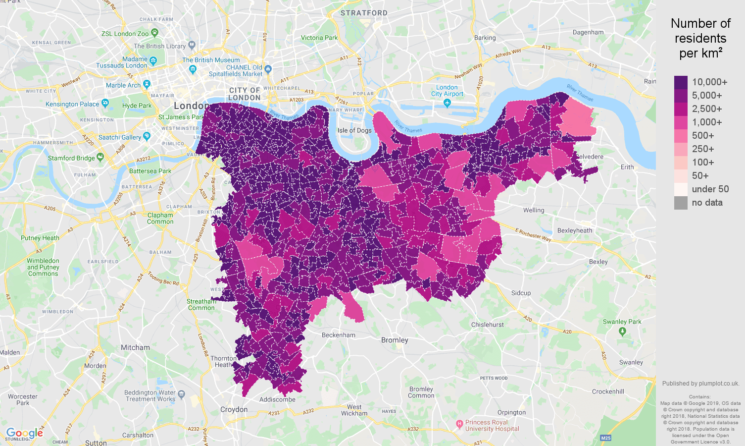 south east london population density map