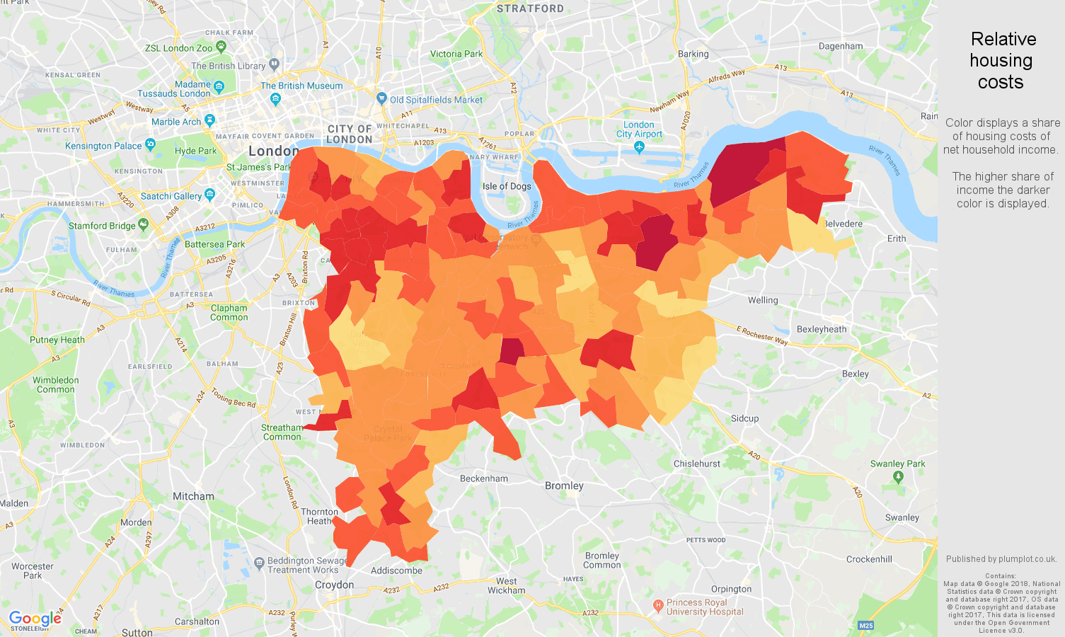 South East London relative housing costs map