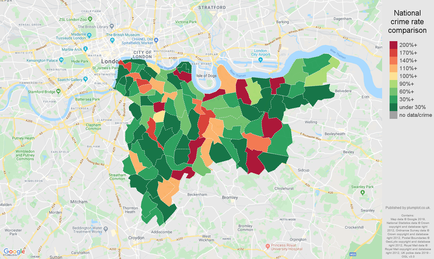 south east london shoplifting crime rate comparison map