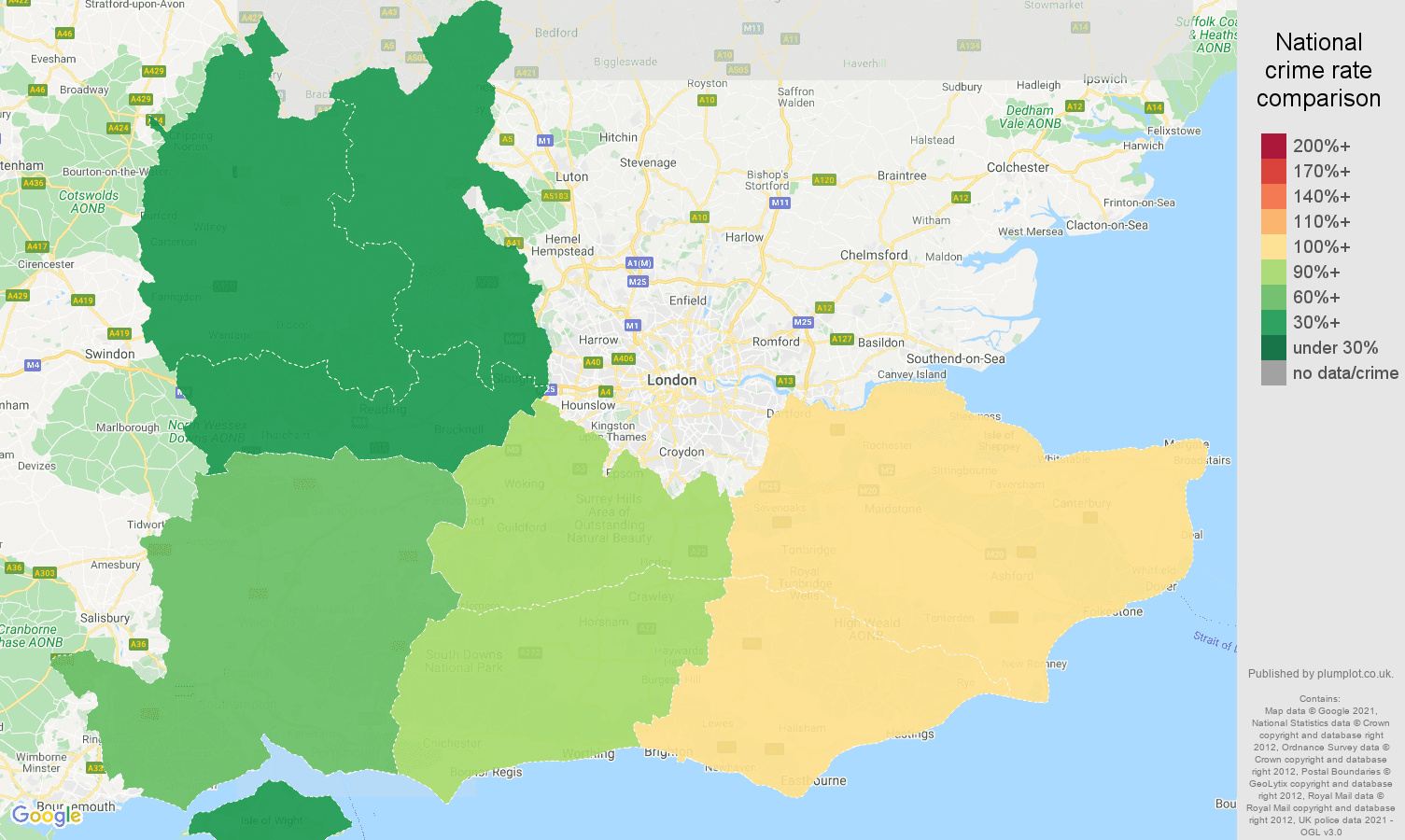 South East antisocial behaviour crime rate comparison map