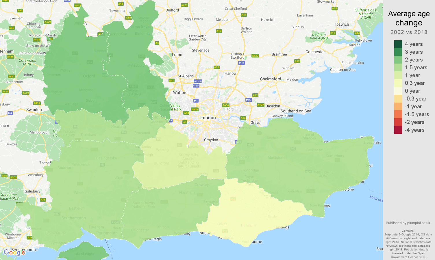 South East average age change map
