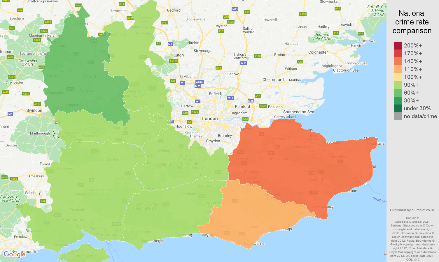 South East criminal damage and arson crime rate comparison map