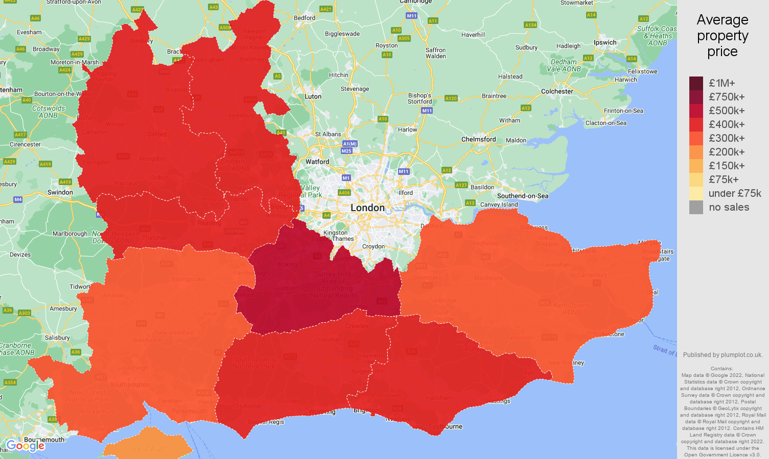 South East house prices map