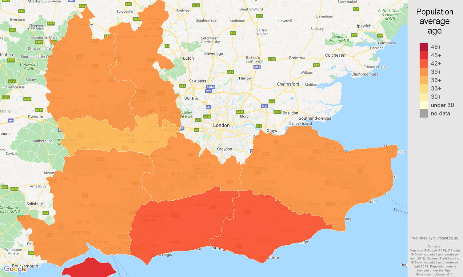 South East population average age map
